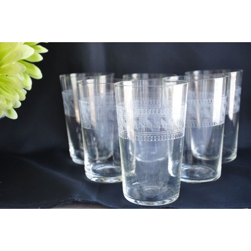 Greek Key Motif Set of  6 Art Deco Tumblers