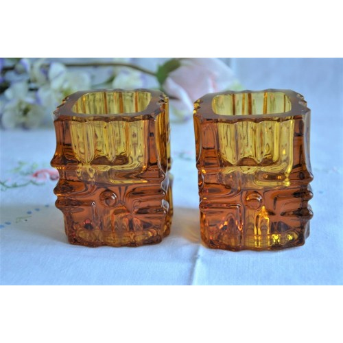 Czech Design 1960's Amber Glass Candle Holders