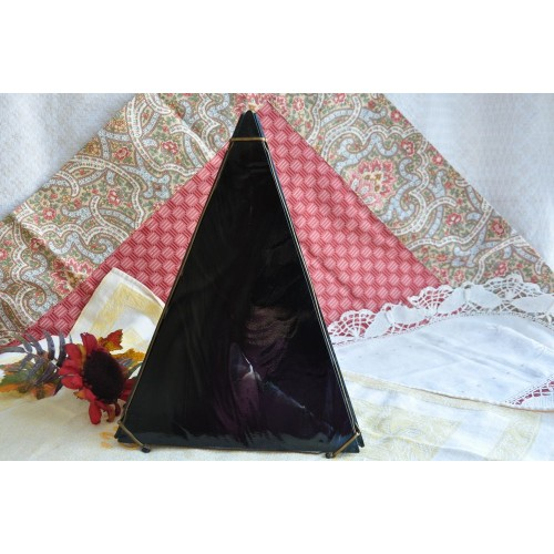 Black Stained Glass Three-Sided Pyramid