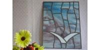 Tableau d'oiseau en verre vitrail artisanal