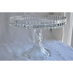 U.S. Glass Manhattan Pattern Footed Cake Stand