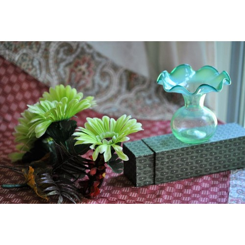 Victorian Mouth Blown Shading Green Posy Vase