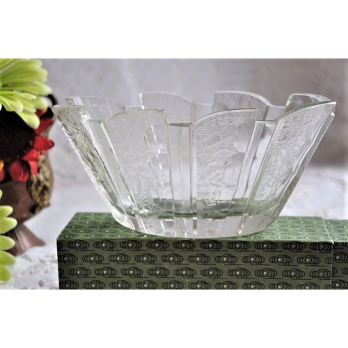 Cut Art Glass Art Deco Oval Vase or Bowl
