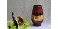Vase allemand en cristal rouge et or