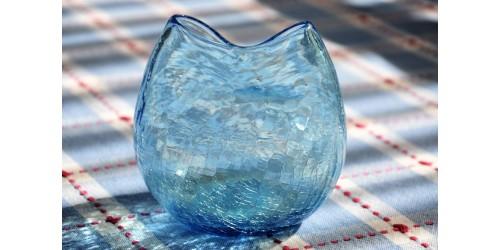 Vase en verre craquelé pincé Blenko USA