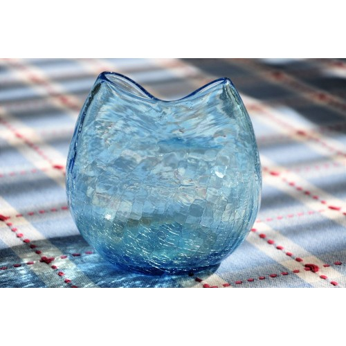 Blenko Turquoise Blue Crackle Glass Pinched Vase