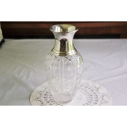 Crystal Vase With Silver Collar Vintage