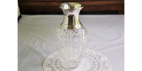 Crystal Vase With Silver Collar Vintage