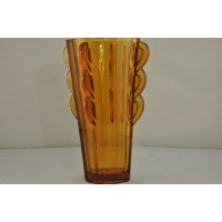 Sowerby octagonal amber glass art deco vase 2597