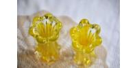 Paire de vases design en verre clair et jaune citron