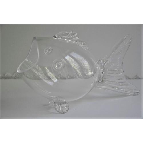 Grand vase poisson en verre soufflé