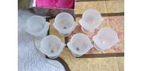 Coquetiers poules en verre dépoli marqués France