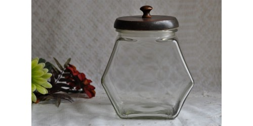 Vintage Hexagonal Glass Candy Jar With Lid