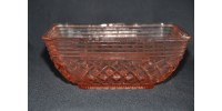 Bol carré en verre rose dépression Anchor Hocking motif Waterford Waffle